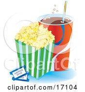 Container Of Buttered Popcorn By A Cup Of Fountain Soda And Two Movie Tickets Clipart Illustration