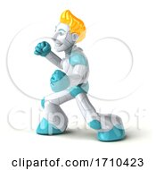 3d Blond Haired Male Robot Character On A White Background by Julos
