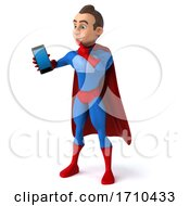 3d Young Brunette White Male Super Hero In A Blue And Red Suit On A White Background