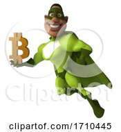 3d Buff Black Male Green Super Hero On A White Background