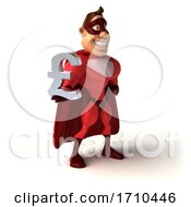 3d Buff Red White Male Super Hero On A White Background
