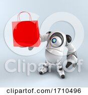 3d Round Robot Character On A Shaded Background