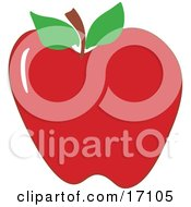 Plump Red Apple With A Stem And Two Green Leaves Clipart Illustration