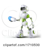 Poster, Art Print Of 3d Green And White Robot On A White Background