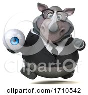 3d Business Rhinoceros On A White Background
