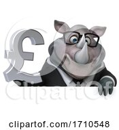 Poster, Art Print Of 3d Business Rhinoceros On A White Background