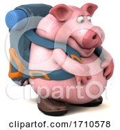05/29/2020 - 3d Backpacker Pig On A White Background