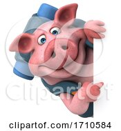 3d Backpacker Pig On A White Background