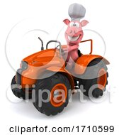 3d Chef Pig On A White Background
