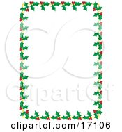 White Background Bordered With Holly And Berries Clipart Illustration