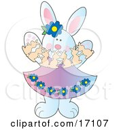 Happy Female White Bunny Rabbit Playing With Paper Bunnies On Easter Clipart Illustration