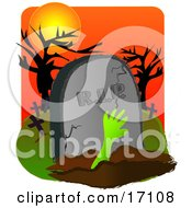 Green Arm Reaching Out From A Burial Grave In Front Of A Headstone In A Cemetery On Halloween Clipart Illustration