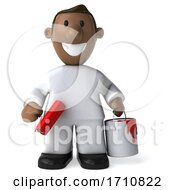 Poster, Art Print Of 3d Black Male Painter On A White Background