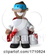 06/02/2020 - 3d Black Male Painter On A White Background
