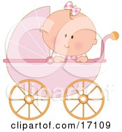 Caucasian Baby Girl In A Pink Stroller Carriage Looking Over The Side