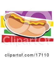Fast Food Hot Dog On A Bun And Garnished With Mustard Clipart Illustration by Maria Bell