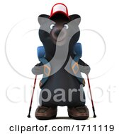 3d Black Bear Backpacker On A White Background