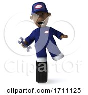 3d Black Male Mechanic On A White Background