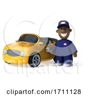 Poster, Art Print Of 3d Black Male Mechanic On A White Background