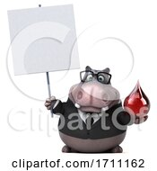 3d Hippo On A White Background