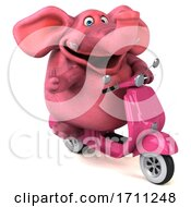 Poster, Art Print Of 3d Pink Elephant On A White Background