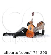 3d Black Businessman With A Guitar On A White Background