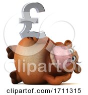 Poster, Art Print Of 3d Brown Cow Holding A Pound Currency Symbol On A White Background