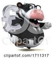 Poster, Art Print Of 3d Business Holstein Cow Holding A Pound Currency Symbol On A White Background