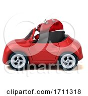 Poster, Art Print Of 3d Red Business Bull Driving A Convertible On A White Background