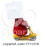 Poster, Art Print Of 3d Red Bull Riding A Scooter On A White Background