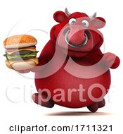 Poster, Art Print Of 3d Red Bull Holding A Burger On A White Background