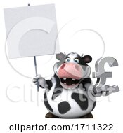 Poster, Art Print Of 3d Holstein Cow Holding A Pound Currency Symbol On A White Background