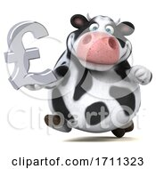 3d Holstein Cow Holding A Pound Currency Symbol On A White Background