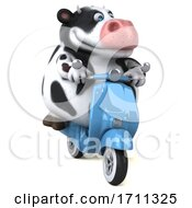 3d Holstein Cow Riding A Scooter On A White Background