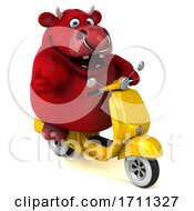 3d Red Bull Riding A Scooter On A White Background