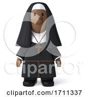 3d Black Nun On A White Background