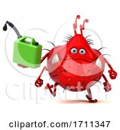 3d Red Germ Monster Holding A Gas Can On A White Background