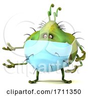 3d Germ Virus Wearing A Mask On A White Background
