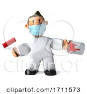 Poster, Art Print Of 3d Painter Worker Wearing A Mask On A White Background