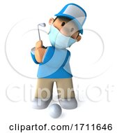3d Golfer Toon Guy In A Blue Shirt On A White Background