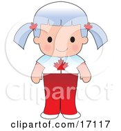 Cute Canadian Girl Wearing A Flag Of Canada Shirt Clipart Illustration