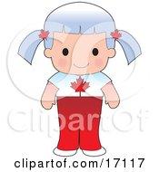 Cute Canadian Girl Wearing A Flag Of Canada Shirt