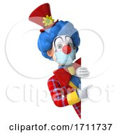 Poster, Art Print Of 3d Colorful Clown Wearing A Mask On A White Background