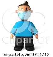 3d Casual White Man Wearing A Mask On A White Background