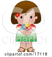 Cute Mexican Girl Wearing A Flag Of Mexico Shirt Clipart Illustration