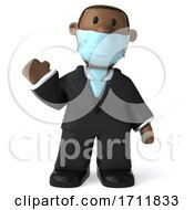 3d Short Black Business Man Wearing A Face Mask On A White Background