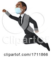 3d Black Business Man Wearing A Face Mask On A White Background