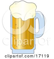 Frothy And Bubbly Mug Of Beer With The Froth Overflowing Clipart Illustration