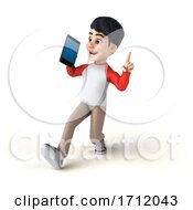 3d Asian Boy On A White Background
