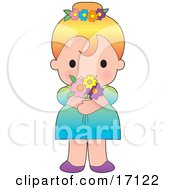 Sweet Blond Caucasian Girl In A Dress Wearing Flowers In Her Hair And Holding A Bouquet